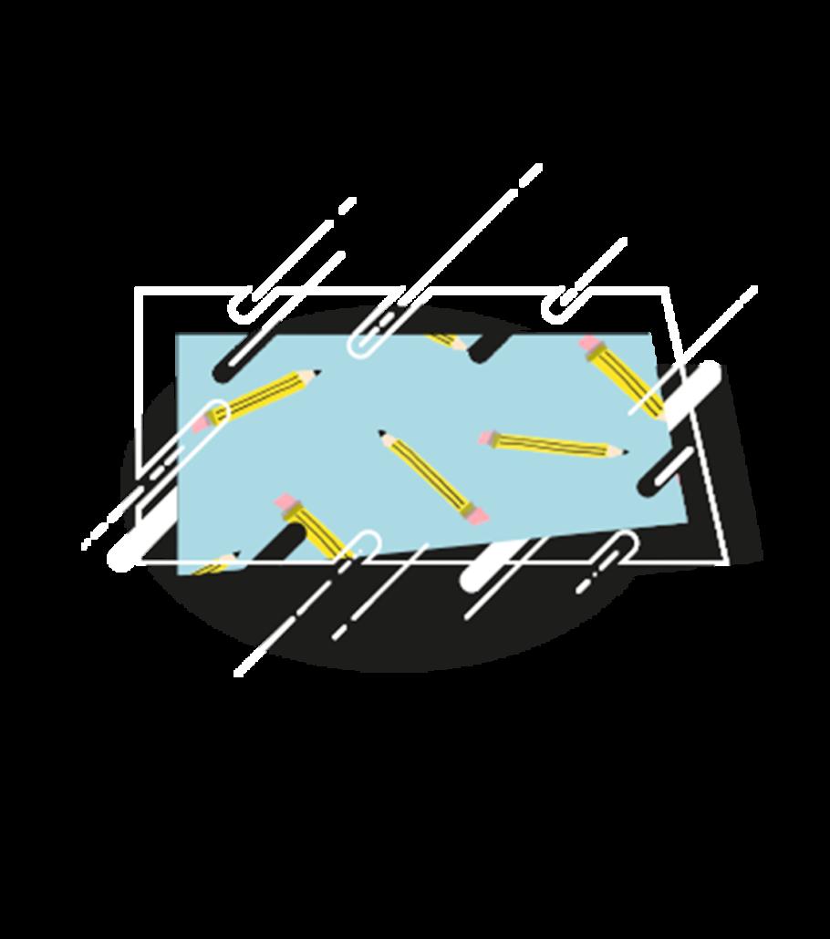 illustrazione quadrato con matite